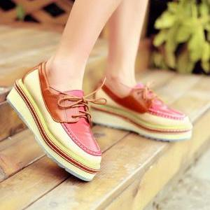 Cute Lace Mixed Color Platform shoe..