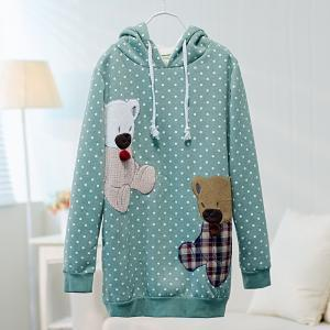 Lovely Dot Bear patch fleece hoodie