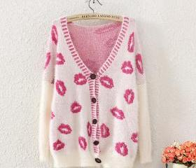 Red lips sweater v-neck knitting sweater cardigan coat