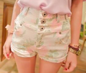vintage women shorts,Vintage Inspired High Waist Floral Shorts