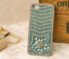 Custom Handmade case cover for iphone 5s 5, Women man bling iphone 5 stud case cover rhinestone high quality best gift