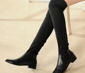 thigh high boots,leather women knee high boots,black boots