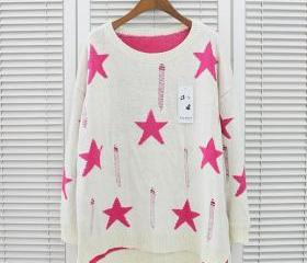 ladies jumper Knit sweater star sweaters white clothing