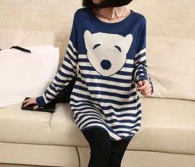 Cute cartoon sweaters clothing bear stripe knit sweater