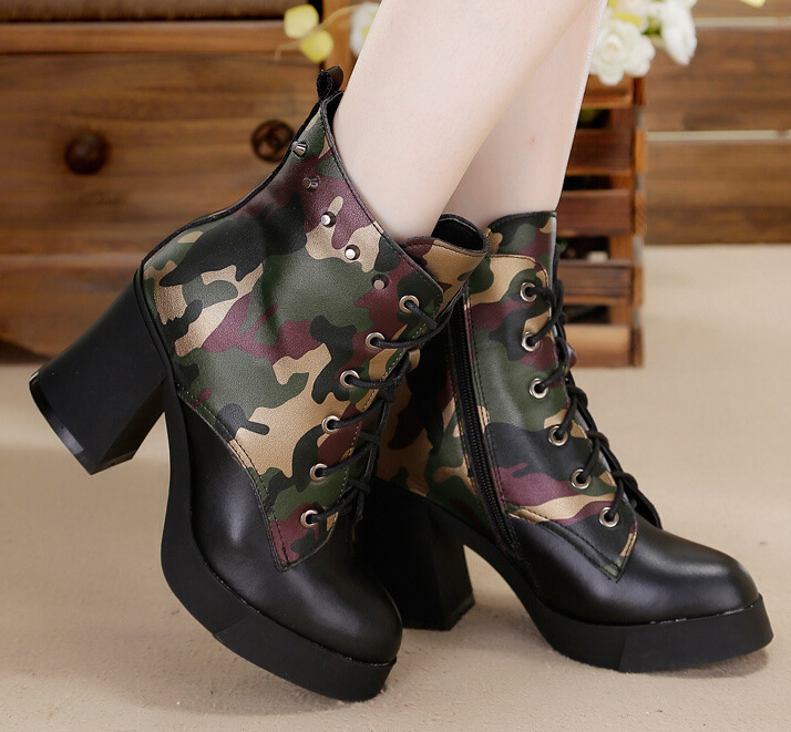 High Heel BootsZipper Combat Boots Women Military Bootscombat