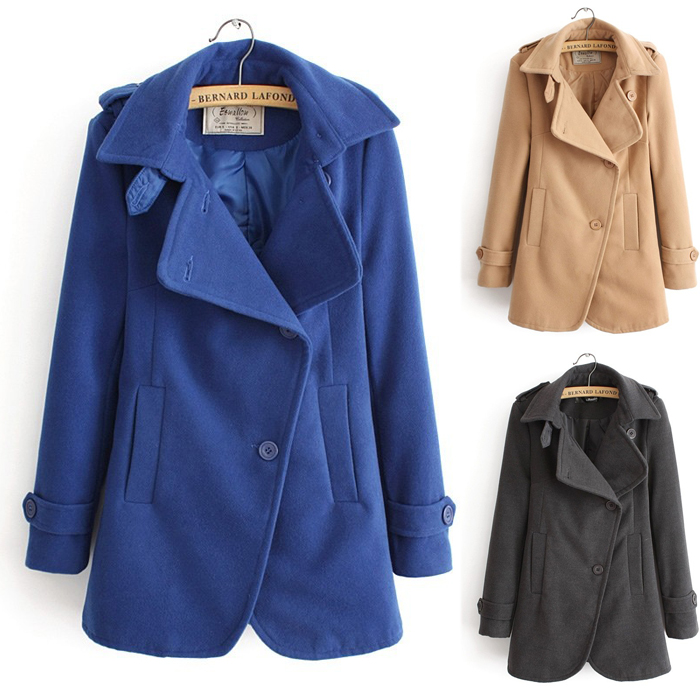 Ladies Clotheing Large Lapel College Wind Womens CoatsKhaki