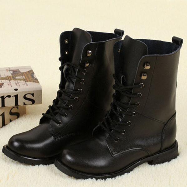 Simple Dingo Dingo Harness Women Leather Black Motorcycle Boot Boots