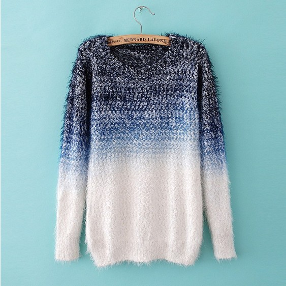 cool womens sweaters jumpers feather yarn wool Ombre fashion sweater