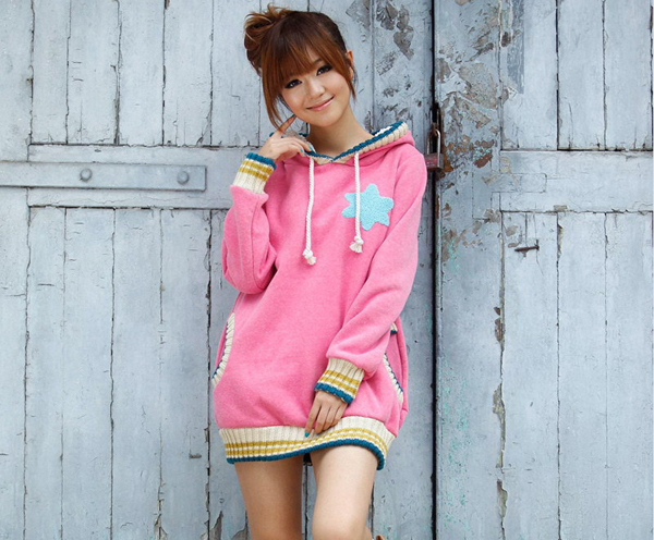 Cartoon Star pattern fleece hoodie