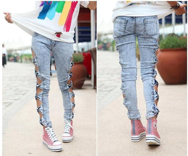 Hollow Bow Tight Jeans Cute Fashion Design Women Jean S M L on Luulla